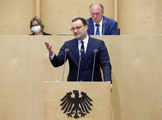 Jens Spahn, el ministro de Sanidad de Alemania, en una intervención en el Bundesrat