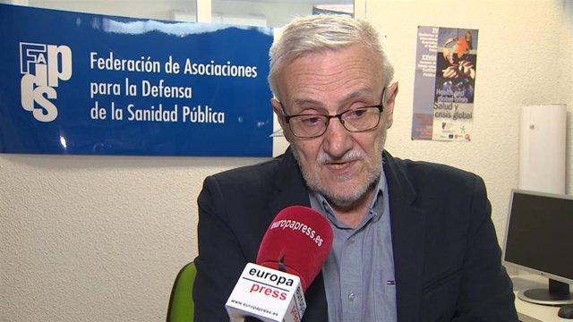 El presidente de la Federación de Asociaciones para la Defensa de la Sanidad Pública (FADSP), Marciano Sánchez Bayle.