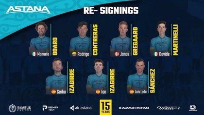Luis León Sánchez y los hermanos Izagirre renuevan con Astana