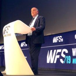 El presidente de LaLiga, Javier Tebas, en World Football Summit 2019