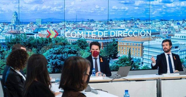 El líder del PP, Pablo Casado, preside la reunión del comité de dirección de su partido. En Madrid, 17 de noviembre de 2020.