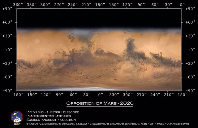 Mapa de Marte con imágenes tomadas desde un telescopio en Francia