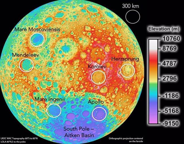 Mapa de elevación de la superficie lunar