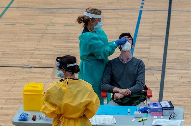 Sanitarios trabajando durante las pruebas de cribado de covid-19 con test de antígenos en el pabellón deportivo de 'El Paraguas'. En Sevilla (Andalucía, España), a 28 de octubre de 2020.