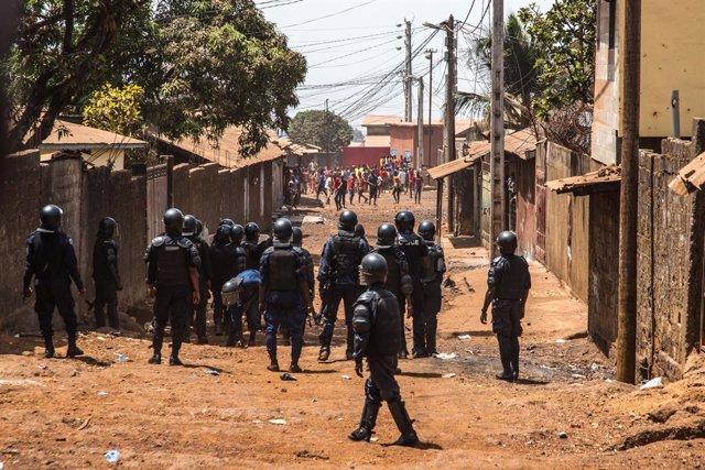Protestas en Conakry contra el presidente, Alpha Condé