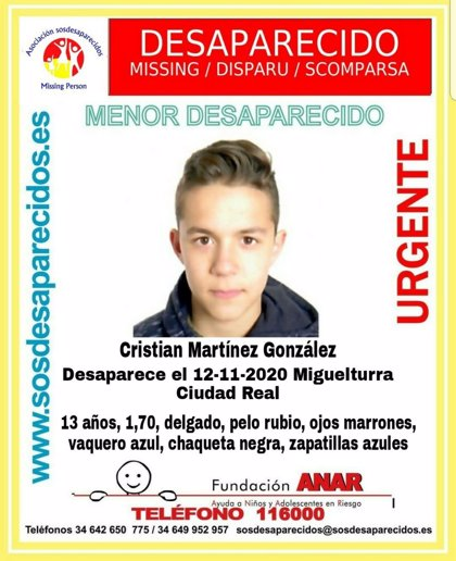 Policía pide ayuda para encontrar a un menor de 13 años desparecido en Miguelturra