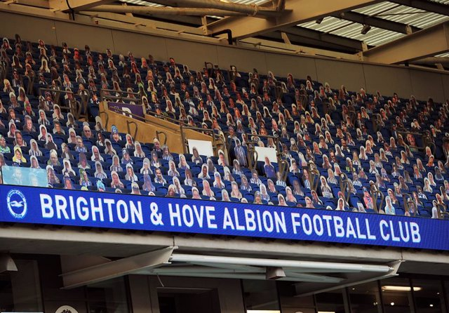 Cardboard cut outs of the Brighton fans in the stands during the Premier League match between Brighton and Hove Albion and Manchester City at the Amex Stadium, Brighton, England on July 11, 2020 - Photo Andrew Cowie / Colorsport / DPPI