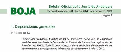 La Junta publica el BOJA que prorroga restricciones en Andalucía hasta el 10 de diciembre a dos horas de entrar en vigor