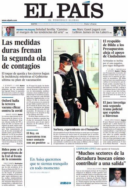 Las portadas de los periódicos del martes 24 de noviembre