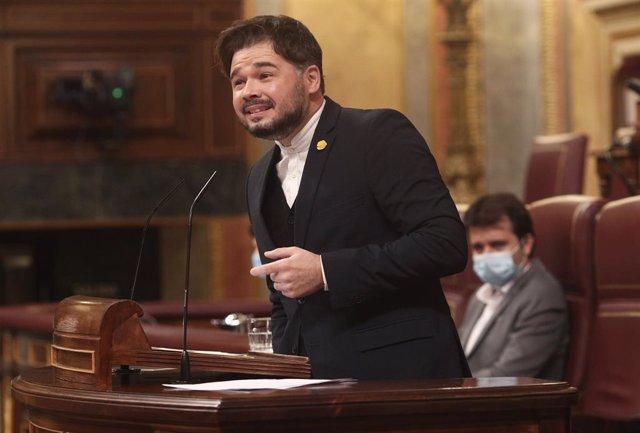 El portavoz de ERC en el Congreso, Gabriel Rufián, interviene en el Congreso de los Diputados durante la segunda jornada del debate de los Presupuestos Generales para 2021, en Madrid (España), a 12 de noviembre de 2020. El Gobierno de coalición afronta de