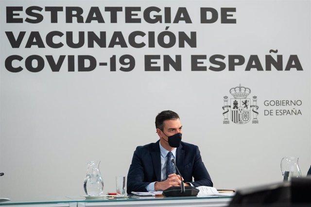 El presidente del Gobierno, Pedro Sánchez, preside la reunión del Comité de Seguimiento del Coronavirus y estudio de los proyectos de vacunas, en el Complejo de la Moncloa, Madrid (España), a 23 de noviembre de 2020.