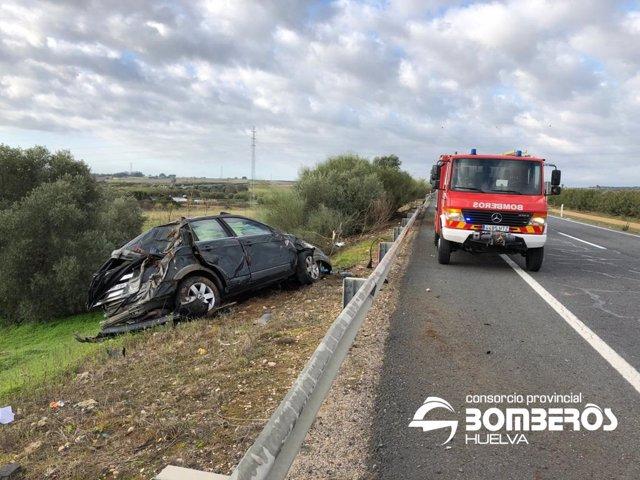 Accidente de tráfico en la A-49 a la altura de Gibraleón (Huelva).