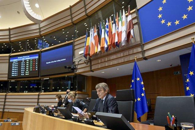 El presidente del Parlamento Europeo, David-Maria Sassoli, en una sesión plenaria en Bruselas