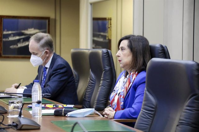 La ministra de Defensa, Margarita Robles, durante el Consejo de Defensa de la Unión Europea