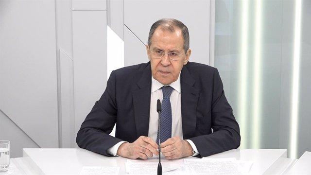 Sergei Lavrov, en una entrevista en Moscú