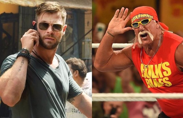 Chris Hemsworth como Tyler Rake y Hulk Hogan en su vuelta al ring