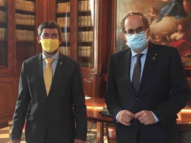 El president de la Cambra de Barcelona, Joan Canadell, i l'expresident de la Generalitat Quim Torra.