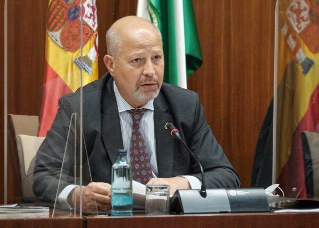 El consejero de Educación, Javier Imbroda, este martes durante su comparecencia parlamentaria en comisión.