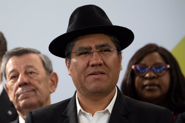 28 May 2019, Berlin: Bolivia's Foreign Minister Diego Pary Rodriguez, is pictured before the opening of the Latin America and Caribbean Conference at the German Federal Foreign Office. Photo: Ralf Hirschberger/dpa