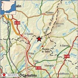 Terremoto registrado en Piñor (Ourense)