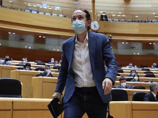 El vicepresidente de Derechos Sociales y Agenda 2030, Pablo Iglesias, en el Senado