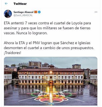 """Abascal reprocha al Gobierno la cesión del cuartel de Loyola que ETA intentó eliminar con siete atentados: """"¡Traidores!"""""""