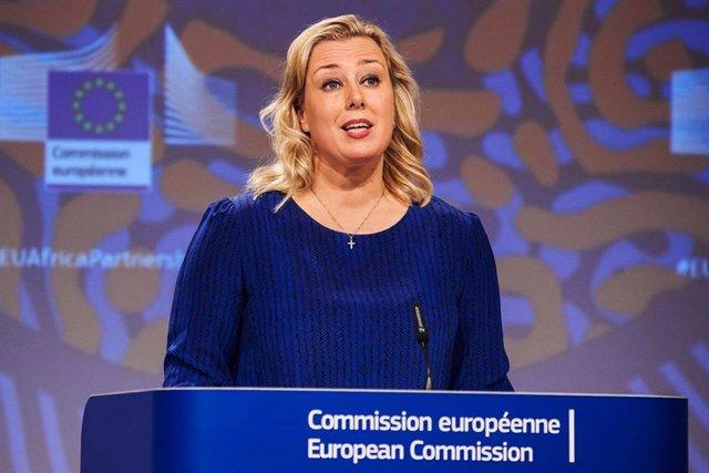 Jutta Urpilainen, comisaria europea de Desarrollo, en una comparecencia en Bruselas