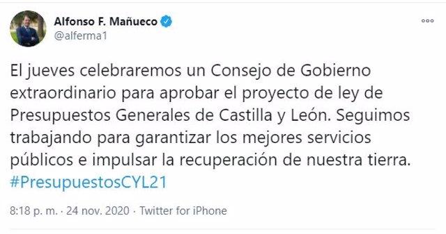 Tuit escrito por Fernández Mañueco para anunciar la presentación este jueves de los PGC.