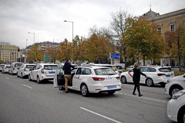 Marcha de taxistas convocada en Madrid
