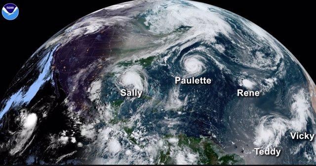 Cinco tormentas con nombre propio llegaron a coincidir sobre el Atlántico este año