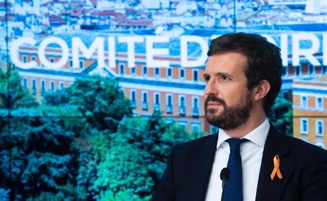 El líder del PP,  Pablo Casado, en una  reunión del comité de dirección del PP. En Madrid.