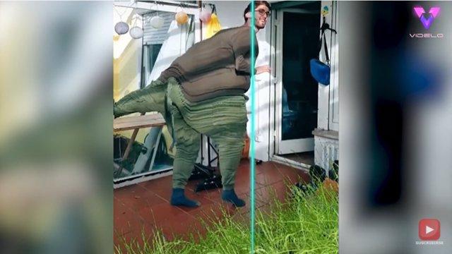 """Este hombre """"se transforma"""" en dinosaurio utilizando el popular filtro del escaneo de TikTok"""
