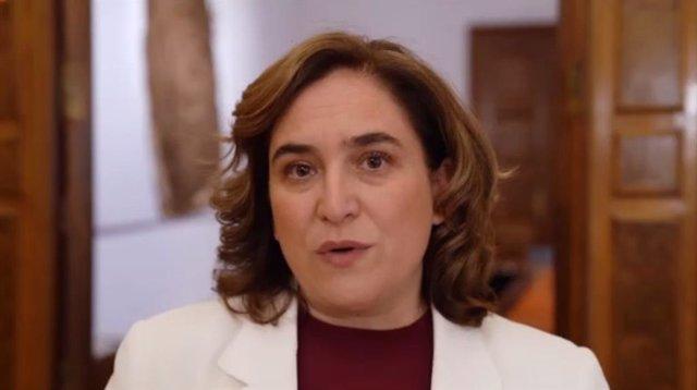 L'alcaldessa de Barcelona, Ada Colau, durant la seva intervenció telemàtica en l'acte del 20è aniversari del 22@.