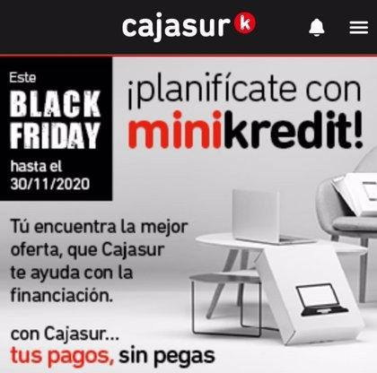 Cajasur comercializa en Black Friday micropréstamos en condiciones especiales