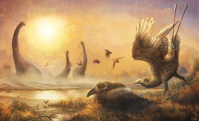 Ilustración mostrando el madrugador Falcatakely en medio de dinosaurios no aviares y otras criaturas durante el Cretácico Superior en Madagascar