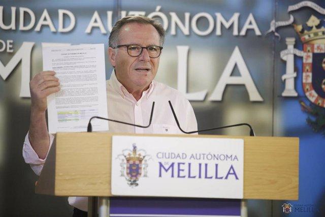 Eduardo de Castro, presidente de Melilla por Cs, en una rueda de prensa