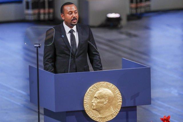 El primer ministre d'Etiòpia, Abiy Ahmed, durant la cerimònia del Nobel de la Pau