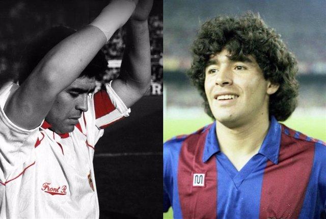 Diego Armando Maradona en su etapa como jugador del Sevilla FC y del FC Barcelona