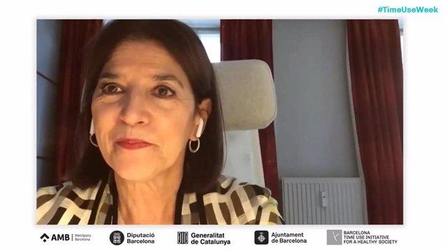 La eurodiputada Izaskun Bilbao, interviniendo en la Time Use Week