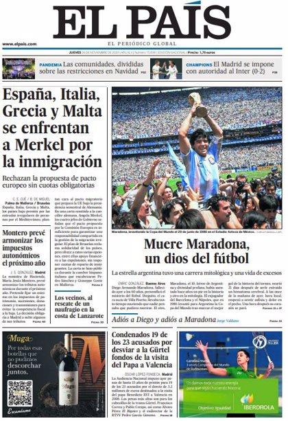 Las portadas de los periódicos del jueves 26 de noviembre