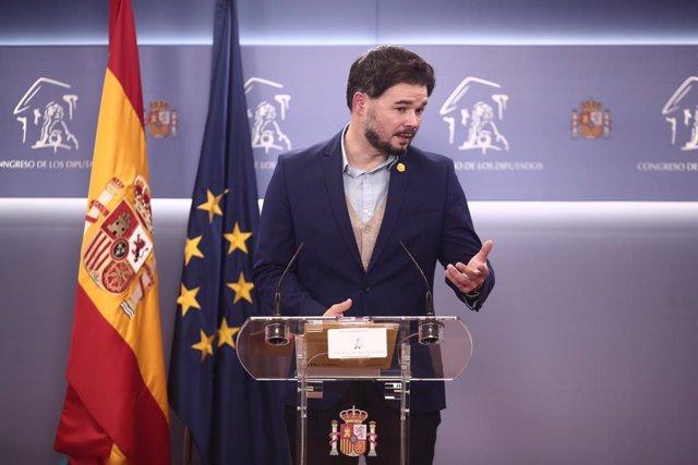 El portaveu d'ERC al Congrés, Gabriel Rufián, en una roda de premsa. Madrid, (Espanya), 24 de novembre del 2020.