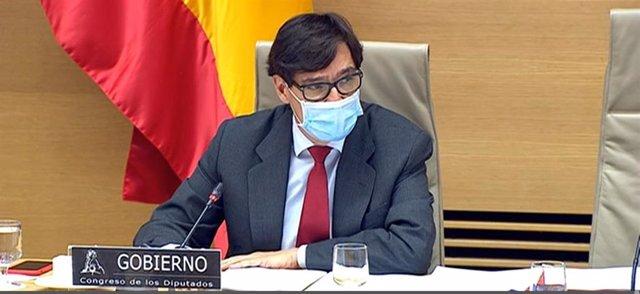 El ministro de Sanidad, Salvador Illa, en su comparecencia en la Comisión de Sanidad y Consumo del Congreso de los Diputados para informar sobre la evolución de la pandemia de COVID-19 en España, a 26 de noviembre de 2020.