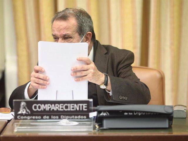 El Defensor del Pueblo en funciones, Francisco Fernández Marugán, preside la Comisión Mixta de Relaciones con el Defensor del Pueblo en el Congreso de los Diputados, en Madrid, (España), a 26 de noviembre de 2020.