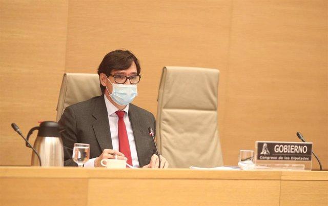 El ministro de Sanidad, Salvador Illa, comparece ante la Comisión de Sanidad del Congreso de los Diputados para informar de las medidas adoptadas para luchar contra la pandemia del coronavirus, en Madrid, (España), a 26 de noviembre de 2020.