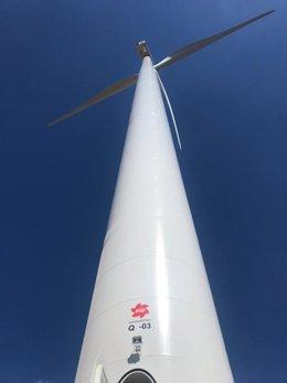 Aerogenerador del parque eólico de Quintanilla de EPDR