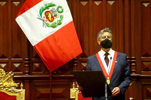 HANDOUT - 17 November 2020, Peru, Lima: Lawmaker Francisco Sagasti looks on during his swearing-in ceremony as Peru's president to become the country's third head of state in just over a week. Photo: Luis Iparraguirre/Peru Presidency/dpa - ATTENTION: edit