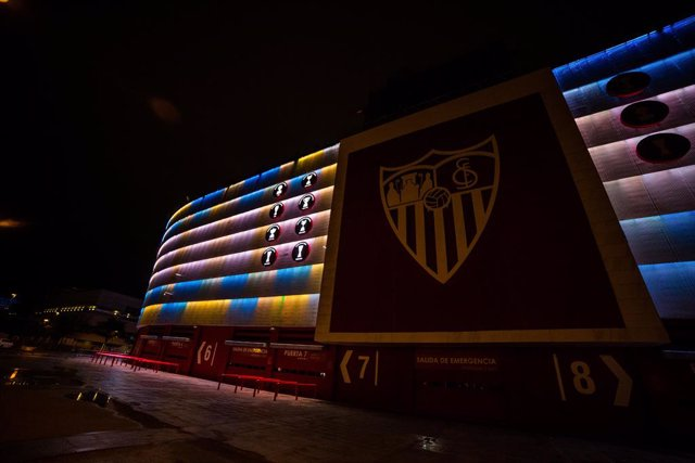 Sevilla FC lights up the Ramon Sanchez Pizjuan Stadium with the colors of the Argentine flag in tribute to Diego Armando Maradona on November 25, 2020, in Seville, Spain.