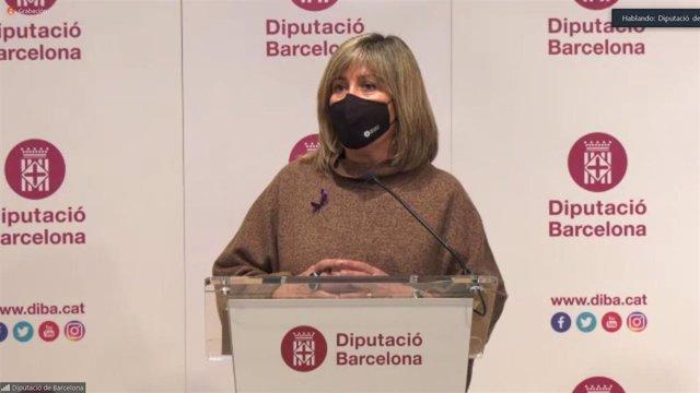 La presidenta de la Diputación de Barcelona, Núria Marín, en la rueda de prensa de presentación del Presupuesto para 2021.