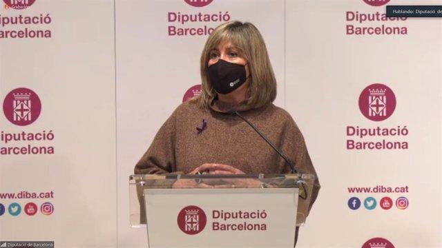 La presidenta de la Diputació de Barcelona, Núria Marín, en la roda de premsa de presentació del Pressupost pel 2021.