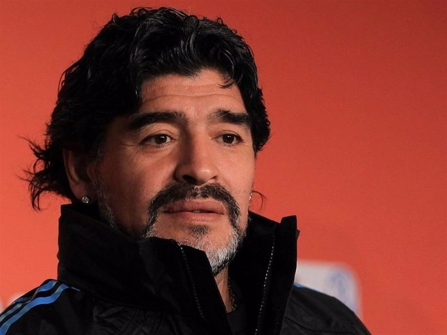 Argentina's head coach Diego Maradona speaks to the media during a press conference at Green Point Arena on July 2, 2010 in Cape Town, South Africa.